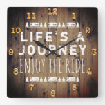 RV Camper Travel Quote Rustic Wood Square Wall Clock