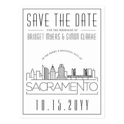 Sacrament Wedding   Stylized Skyline Save the Date Postcard
