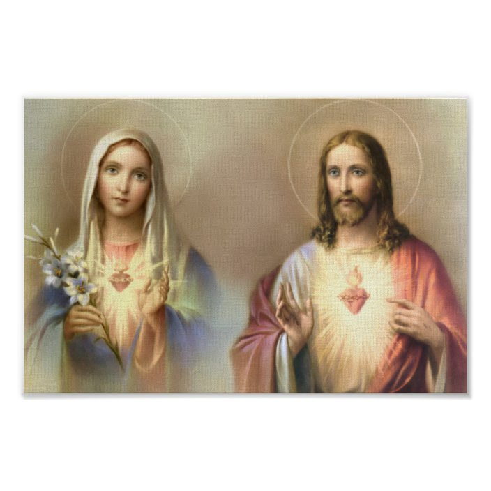 sacred heart jesus immaculate mary religious poster zazzle com