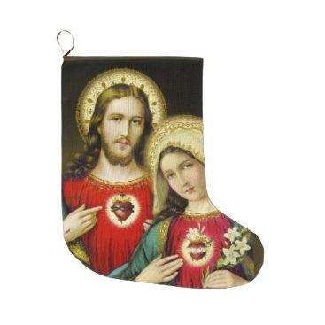 Sacred Jesus Immaculate Heart Mary Large Christmas Stocking
