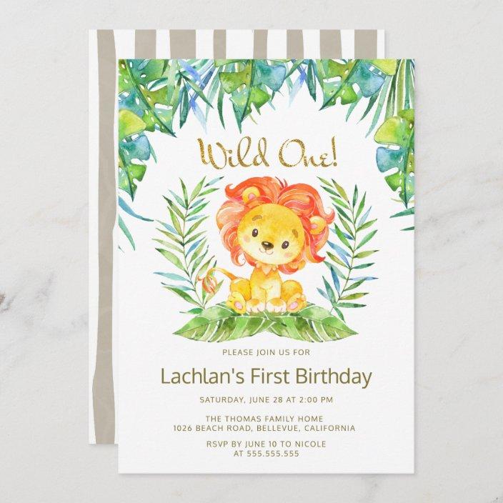 safari cute lion wild one 1st birthday party invitation zazzle com