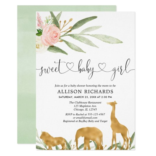 Safari girl baby shower invitation sweet baby girl