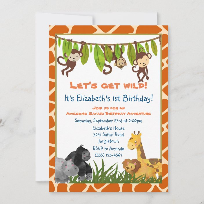 safari jungle animal theme birthday party invite zazzle com