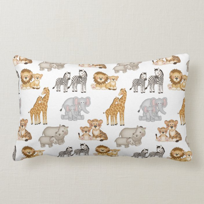 safari jungle animals baby nursery crib lumbar pillow zazzle com