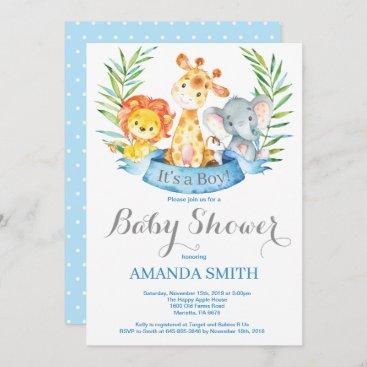Safari Jungle Animals Boy Baby Shower Invitation