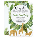 Safari jungle animals gender reveal invitation