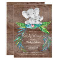 Safari Jungle Elephant Boys Baby Shower Invitation