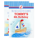 Sail boat nautical boys third 4th birthday invite