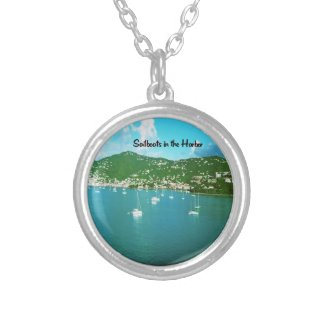 Sailboats in the Harbor Round Pendant Necklace