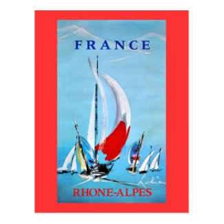 Vintage French Sailing poster Postcard