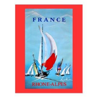 Vintage French Sailing poster Postcard