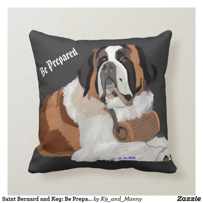 Saint Bernard and Keg: Be Prepared Throw Pillow