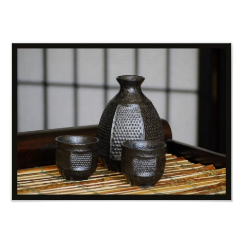 Sake Cups and Carafe Print print