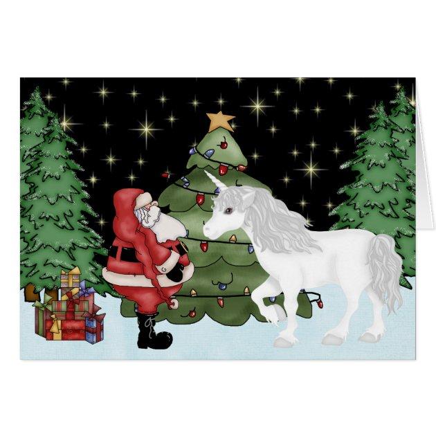 Santa And Unicorn Magical Christmas Holiday Card