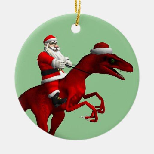 santa claus on dinosaur double sided ceramic round christmas ornament