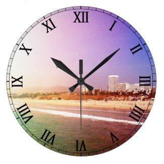 Santa Monica Beach - Green Purple Photo Edit Wall Clock