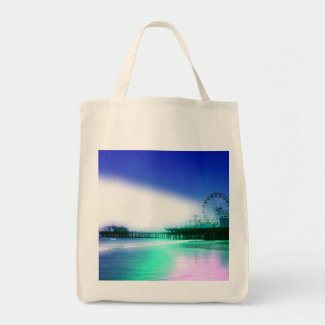 Santa Monica Pier - Blue Green Photo Edit Tote Bag