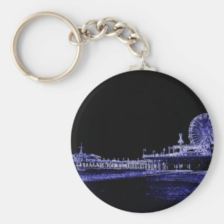 Santa Monica Pier Blue Neon Night Photo Edit Key Chain