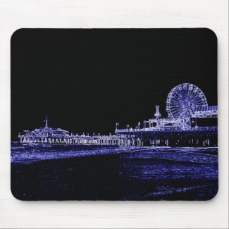 Santa Monica Pier Blue Neon Night Photo Edit Mouse Pads