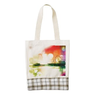 Santa Monica Pier Bursting Colors Zazzle HEART Tote Bag