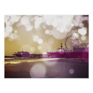 Santa Monica Pier Golden Purple Bokeh Posters