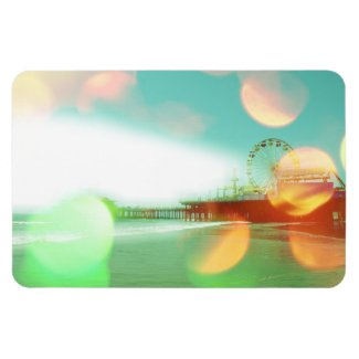Santa Monica Pier Green Orange Sparkles Edit Vinyl Magnet