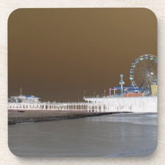 Santa Monica Pier Grey Brown Photo Edit Drink Coaster