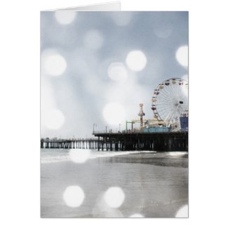 Santa Monica Pier - Grey Sparkles Photo Edit Greeting Card