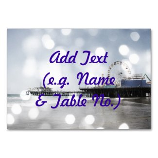 Santa Monica Pier Grey Sparkles Photo Edit Table Card