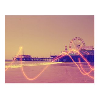 Santa Monica Pier Pink Lightning Edit Postcards