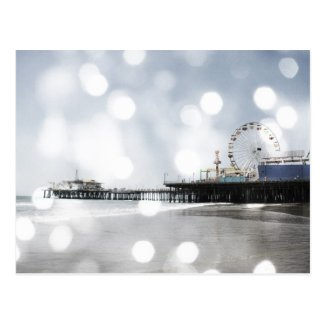 Santa Monica Pier - Silver Grey Sparkles Photo Edi Post Cards
