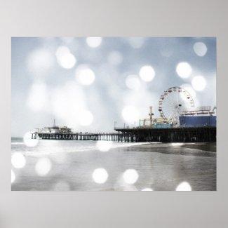 Santa Monica Pier - Silver Grey Sparkles Photo Edi Print