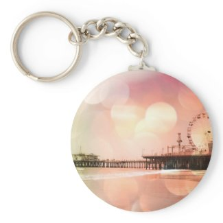 Santa Monica Pier - Sparkling Pink Photo Edit Key Chains