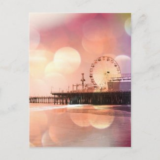 Santa Monica Pier - Sparkling Pink Photo Edit Postcard
