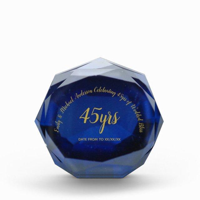 SAPPHIRE 45th Wedding 2 Anniversary Blue Gold