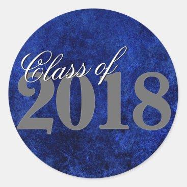 Sapphire Blue Graduation | Cobalt Grunge Grad Year Classic Round Sticker