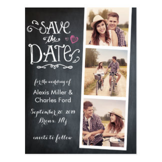 Save The Date Curved Type Chalkboard Postcard
