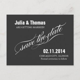 save the date elegant vintage postcard