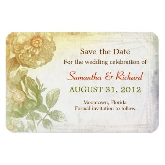 save the date floral vintage beautiful magnets