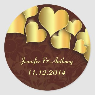 save the date golden love hearts elegant stickers