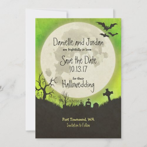 Save the Date Halloween wedding - moon, cemetery