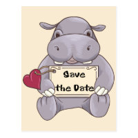Save the Date Hippo Postcard