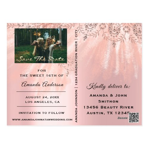 Save The Date Photo Sweet 16th 15th Bridal Shower Postcard