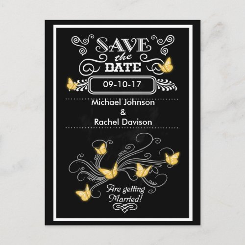 Save the Date Postcard Gold Butterflies Vintage