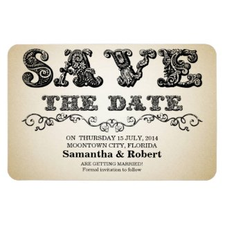 save the date vintage ornate chic magnets