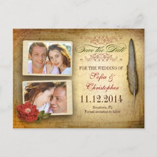 save the date vintage postcard with photos