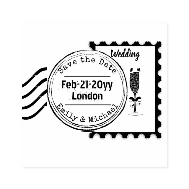 Save the Date Wedding Rubber Stamp POSTAGE style 3