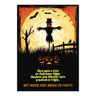Scarecrow Moonlight Halloween Party Invites