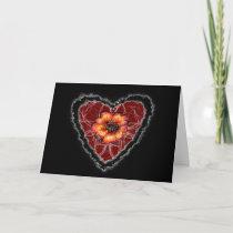 Scarlet Flower Heart Valentine Love Romance Card