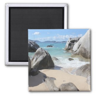 Scenic Beach at The Baths on Virgin Gorda, BVI 2 Inch Square Magnet